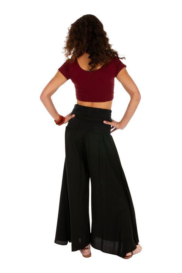Pantalon noir pour femme large et évasé très ample Monika 311064