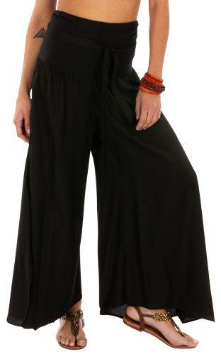Pantalon noir pour femme large et évasé très ample Monika 311065