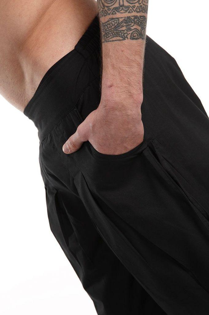 Pantalon noir pour homme confortable au look aladin Cedic