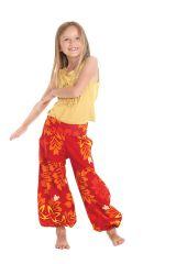 Pantalon Orange pour Fille Bouffant Ethnique et Coloré Chaca 280097