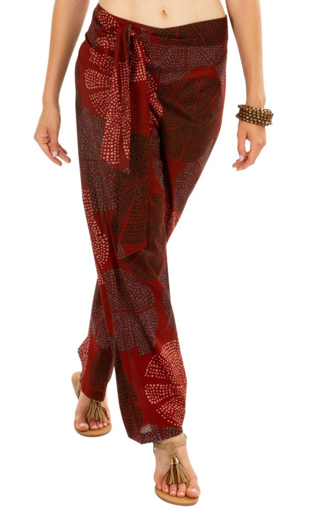 Pantalon original femme coupe droite en coton Madalina