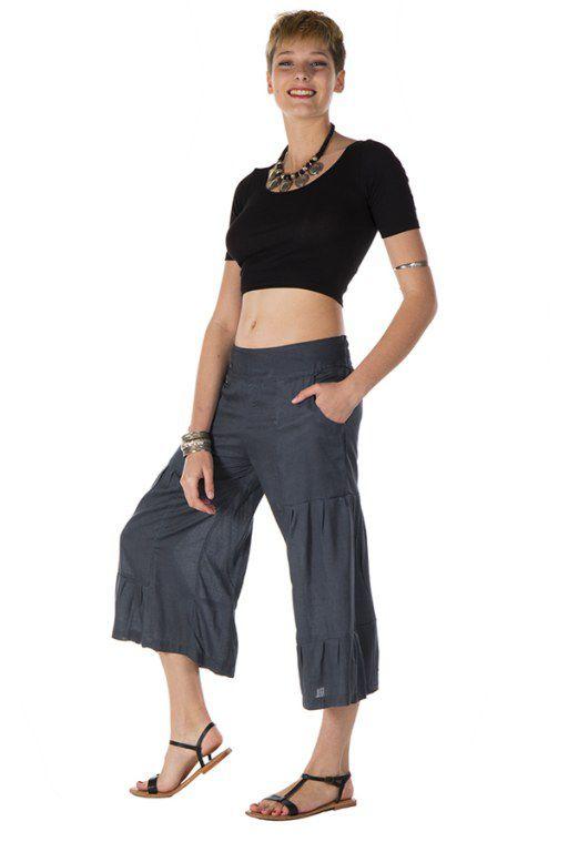 pantalon original large court 3/4 gris anthracite Parati 288709