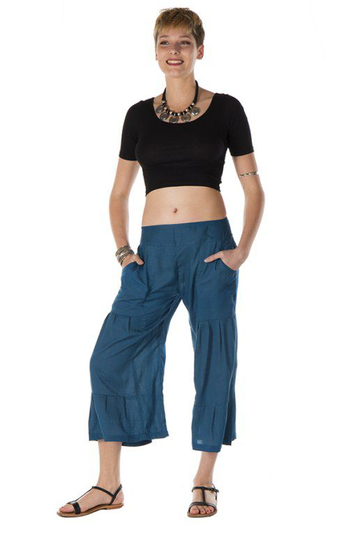 pantalon original large court 3/4 gris bleu Santos 288717