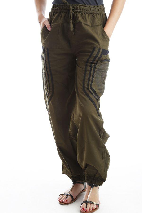 Pantalon original mixte style aladin en coton Kaki Sana 302562
