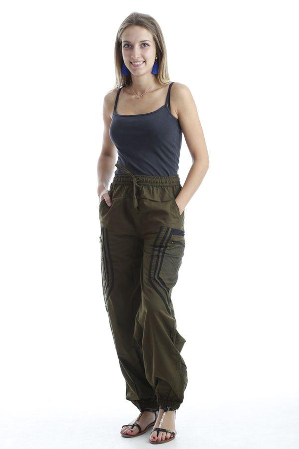 Pantalon original mixte style aladin en coton Kaki Sana 302563
