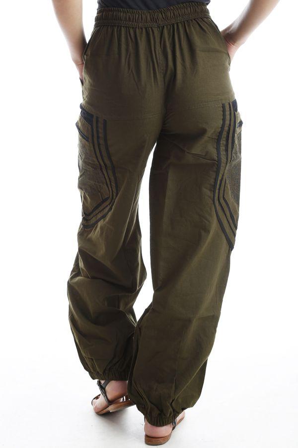 Pantalon original mixte style aladin en coton Kaki Sana 302565