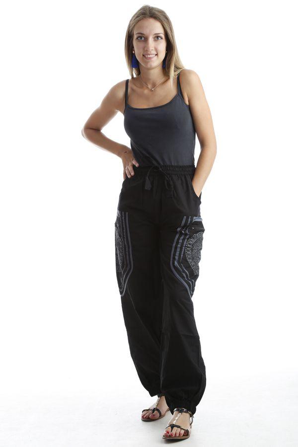 Pantalon original mixte style aladin en coton Noir Sana 302559