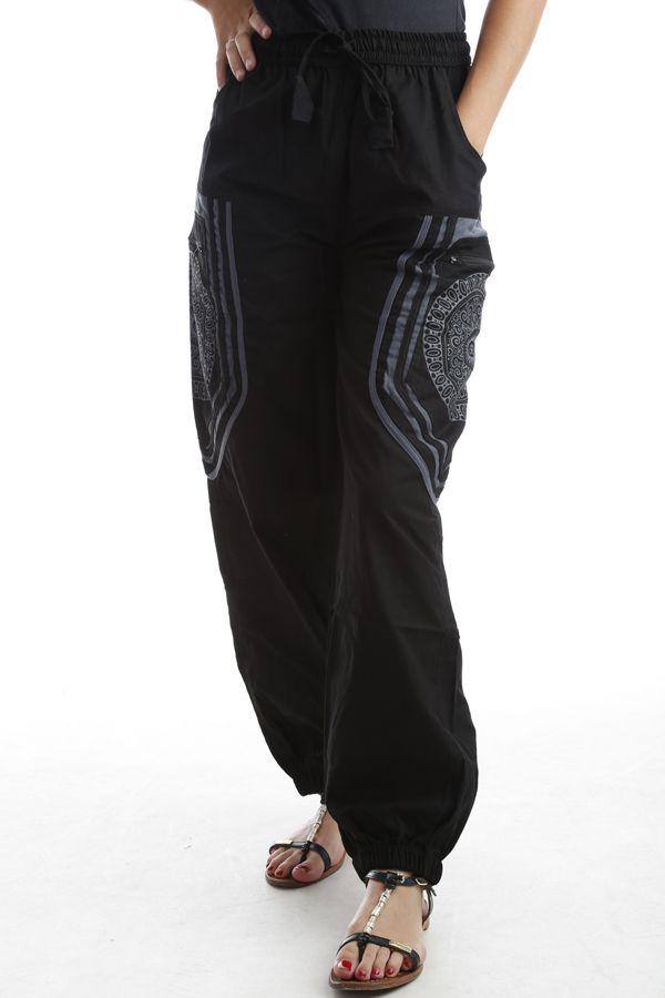 Pantalon original mixte style aladin en coton Noir Sana 302560