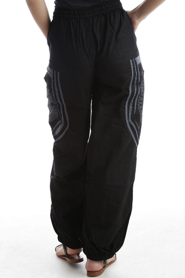 Pantalon original mixte style aladin en coton Noir Sana 302561