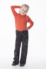 Pantalon original pour fille noir et imprimés Marjolaine 286476