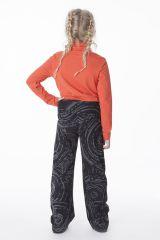 Pantalon original pour fille noir et imprimés Marjolaine 286477