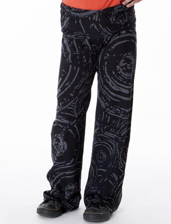 Pantalon original pour fille noir et imprimés Marjolaine 286954