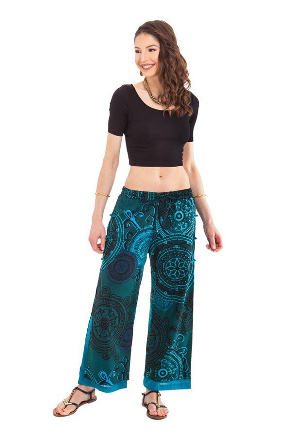 pantalon d ete vert et bleu pour femme fantaisie et. Black Bedroom Furniture Sets. Home Design Ideas