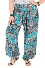 Pantalon plus size imprimé tendance coupe bouffante bleu Galla 295057