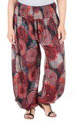 Pantalon plus size imprimés originaux coupe bouffante rouge Galla 295065