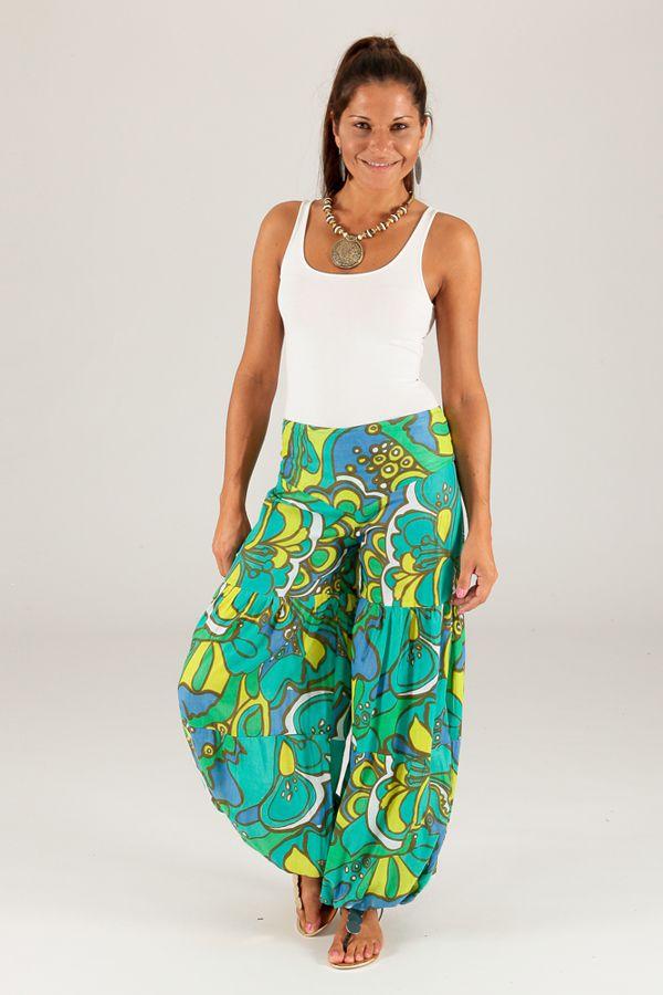 Pantalon pour femme Bouffant et Coloré Nicolas Vert 284144