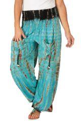 Pantalon pour femme Coloré et Baba Cool Alban Bleu Clair 283551