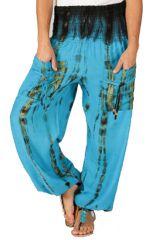 Pantalon pour femme Coloré et Baba Cool Alban Bleu 283549
