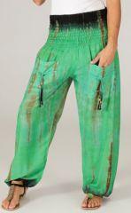 Pantalon pour femme Coloré et Baba Cool Alban Vert 283542