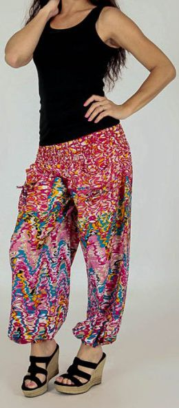 pantalon pour femme d ete ample et agreable florazi rose. Black Bedroom Furniture Sets. Home Design Ideas