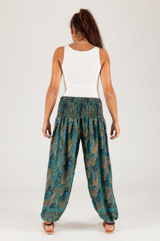 pantalon pour femme d ete ample et agreable yamake vert. Black Bedroom Furniture Sets. Home Design Ideas