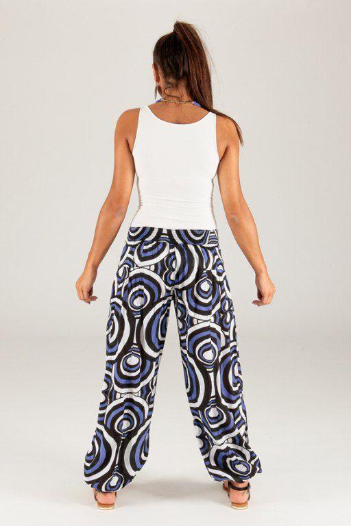 pantalon pour femme d ete ethnique et original milan bleu. Black Bedroom Furniture Sets. Home Design Ideas