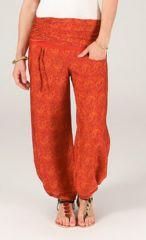 Pantalon pour femme Ethnique à taille plissée Bombay Orange 287112