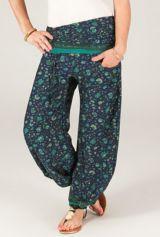 Pantalon pour femme Ethnique Bleu nuit à taille plissée Bombay 287114
