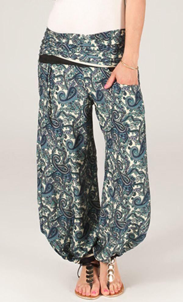 Pantalon pour Femme Fluide et Ethnique Pascal Blanc et Bleu 284148