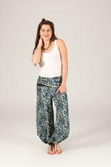 Pantalon pour Femme Fluide et Ethnique Pascal Blanc et Bleu 284149
