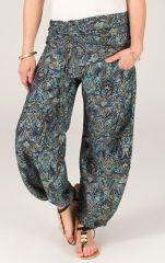 Pantalon pour Femme Fluide et Ethnique Pascal Bleu et vert 284150
