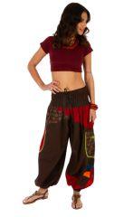 Pantalon pour femme imprimé et coloré Bassila marron 313582