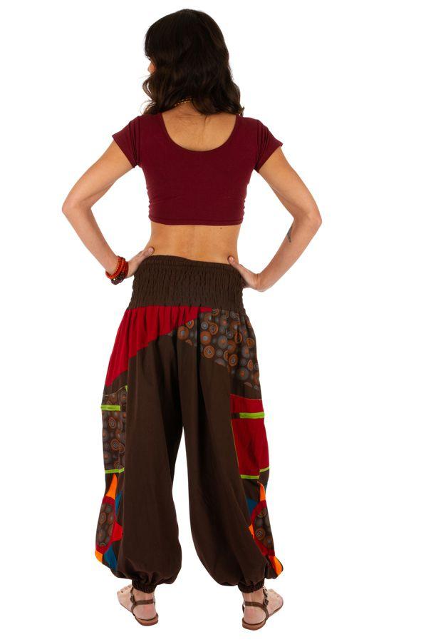 Pantalon pour femme imprimé et coloré Bassila marron 313583