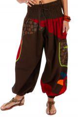 Pantalon pour femme imprimé et coloré Bassila marron 313584