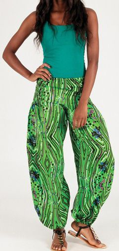 Pantalon pour femme large Ethnique et Agréable Roméo Vert 276685