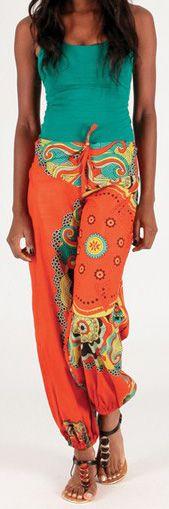 Pantalon pour femme large Ethnique et Coloré Igor Orange 276689