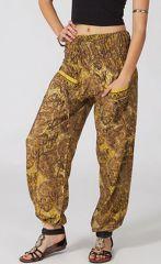 Pantalon pour femme Moutarde Féminin et Ethnique Volva 287129