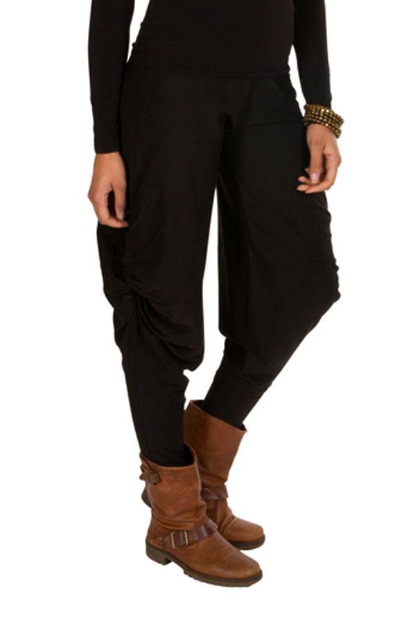 Pantalon pour femme Noir ample original et ethnique Tina 298406
