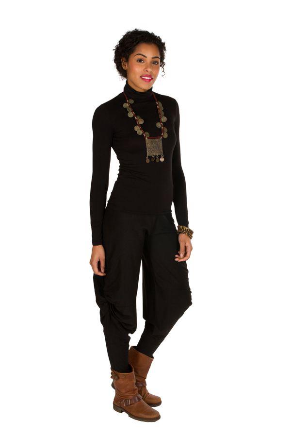 Pantalon pour femme Noir ample original et ethnique Tina 298407