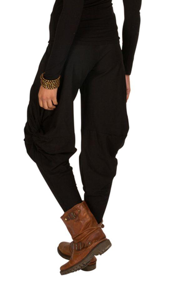 Pantalon pour femme Noir ample original et ethnique Tina 298408