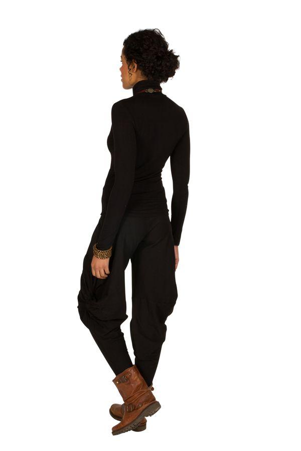 Pantalon pour femme Noir ample original et ethnique Tina