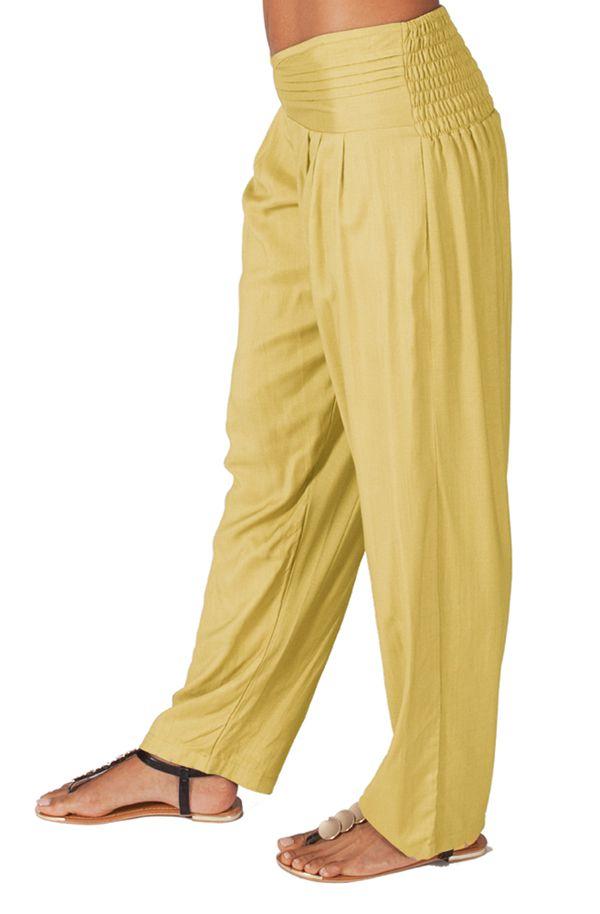 Pantalon pour femme taille basse Ethnique et Original  Giulio Crème 314296
