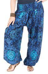 Pantalon pour femmes rondes imprimé fantaisie et coupe bouffante bleu Galla 295105