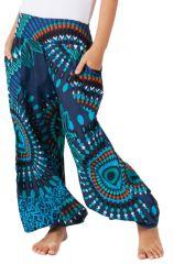 Pantalon pour Fille à Mandalas Bleu Ethnique et Coloré Chaca 280106