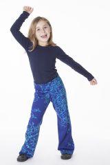 Pantalon pour fille bleu original et imprimés Liviane 286472