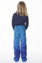Pantalon pour fille bleu original et imprimés Liviane 286473