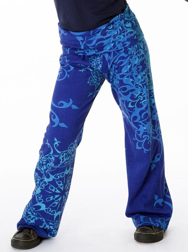 Pantalon pour fille bleu original et imprimés Liviane 286955