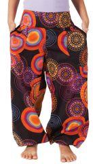 Pantalon pour Fille Bouffant Ethnique et Coloré Chaca Noir 280108