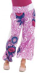 Pantalon pour Fille Rose Bouffant Ethnique et Coloré Chaca 280102