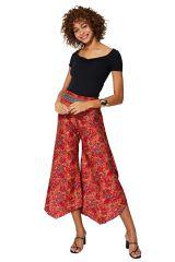 Pantalon rouge asymétrique femme d\'été ethnique Naeko